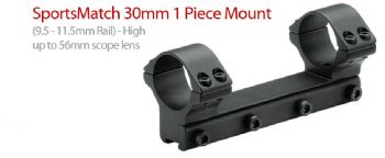Sportsmatch HOP40C 30mm 1 piece Mount Ring for 9.5-11.5mm Rail High 56mm lens